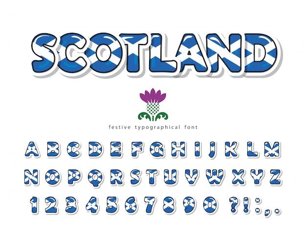Schottland schriftart. farben der schottischen nationalflagge.
