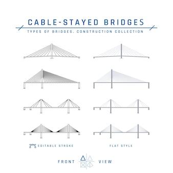 Schrägseilbrücken mit umrissikonen und flachen gegenständen
