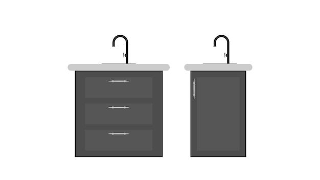 Schrank mit spüle und wasserhahn. schwarze schränke für die küche. isoliert