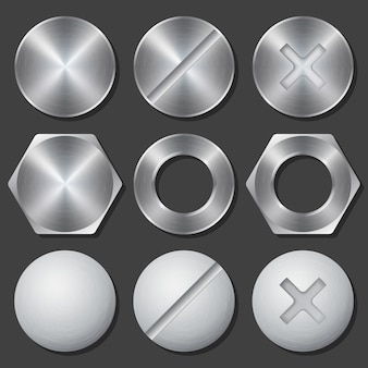Schrauben, muttern und bolzen realistische symbole gesetzt. niet und schraube, kreuzkopf und sechskant, zahnrad fixieren, vektorabbildung