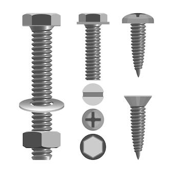 Schrauben und muttern mit verschiedenen schraubenköpfen zeichnen realistische vektorillustrationen einzeln auf weiß. befestigungselement mit gewindebohrung und in verbindung mit schraube