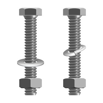 Schrauben und muttern realistische vektor-illustration isoliert auf weiss. befestigungsart mit gewindebohrung und in verbindung mit gegenschraube verwendet, um mehrere teile aneinander zu befestigen.