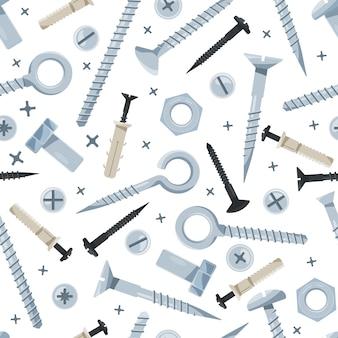 Schraubenmuster. nägel schraubstock eisen werkzeuge für die konstruktion befestigungsschrauben instrumente für bauherren textil vektor nahtlose backgound
