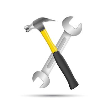 Schraubenschlüssel, schraubenzieher, hammerreparaturikone. geschäft infographic.