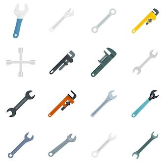 Schraubenschlüssel-symbole gesetzt. flacher satz schraubenschlüsselvektorikonen lokalisiert auf weißem hintergrund