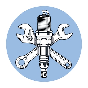 Schraubenschlüssel und zündkerze. rollgabelschlüssel. werkzeuge und reparaturen.