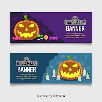 Schreckliche halloween-banner mit flachem design