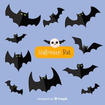 Schreckliche halloween fledermäuse mit flachem design