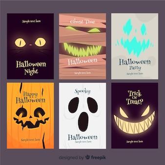 Schreckliche Halloween-Kartensammlung mit flachem Design