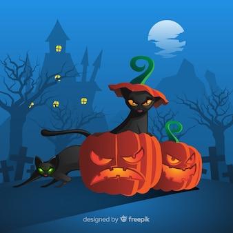 Schreckliche halloween-katzen mit flachem design