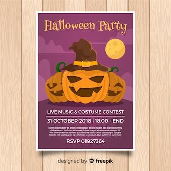 Schreckliche halloween-party-plakatschablone mit flachem design