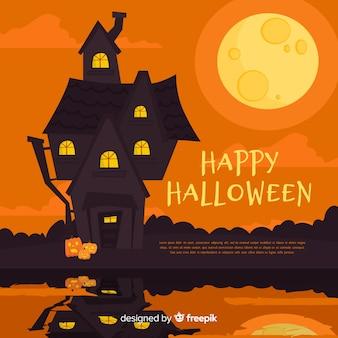 Schreckliche hand gezeichnetes halloween-geisterhaus