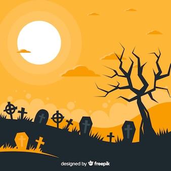 Schrecklicher halloween-hintergrund mit flachem design