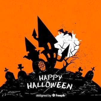 Schrecklicher halloween-hintergrund mit schmutzart