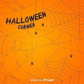 Schrecklicher halloween-hintergrund mit spinnennetz
