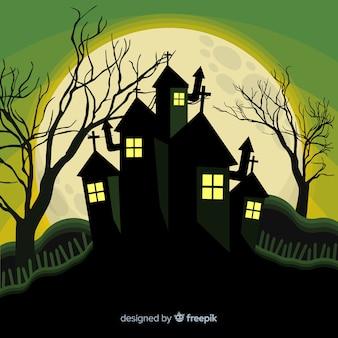 Schreckliches halloween-geisterhaus mit flachem design