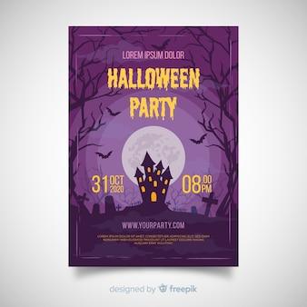 Schreckliches halloween-partyplakat mit flachem design
