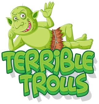 Schreckliches trolllogo auf weißem hintergrund