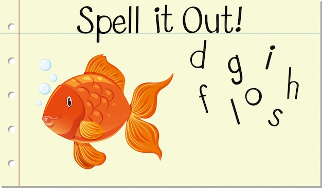 Schreibe es goldfisch aus