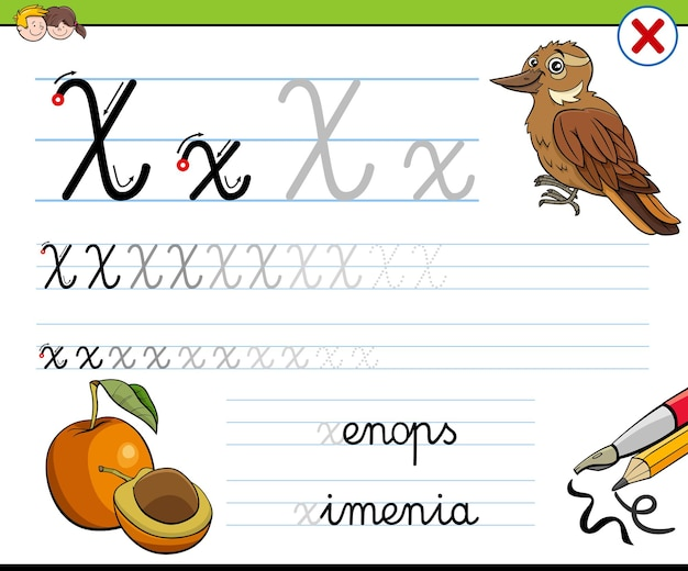 Schreiben des arbeitsblatts für buchstabe x für kinder