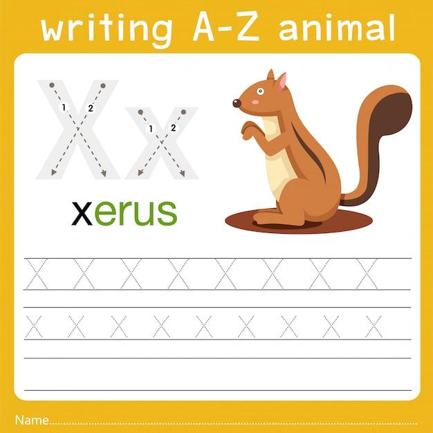 Schreiben eines tieres x