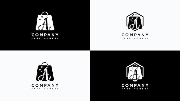 Schreiben sie einen shop-logo-design-vektor premium-vektor