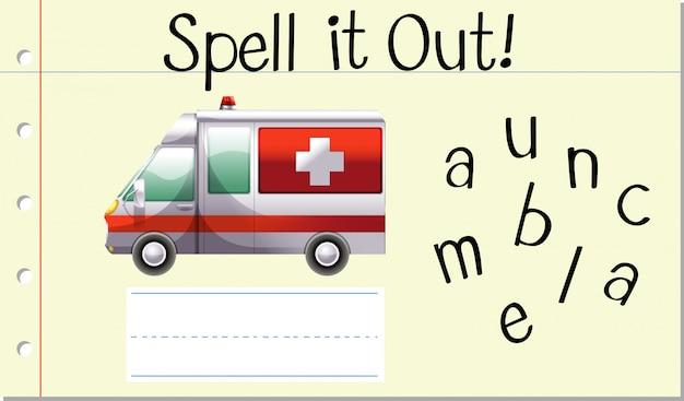 Schreiben sie es ambulanz