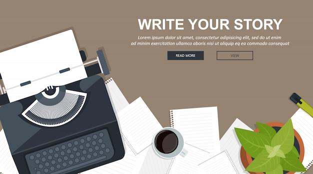 Schreiben sie ihr story-business-banner für journalismus und blogging
