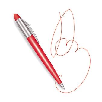 Schreiben sie realistische rote plastik-stift-zeichen.