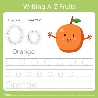 Schreiben von az-früchten mit dem wort orange