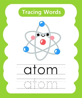 Schreiben von übungswörtern alphabet, das ein atom nachzeichnet