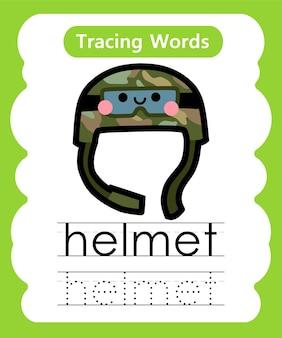 Schreiben von übungswörtern alphabet, das h - helm verfolgt