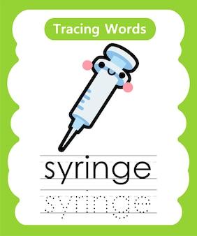 Schreiben von übungswörtern alphabet tracing s - spritze