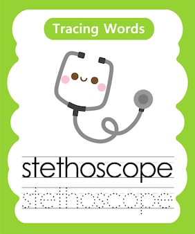 Schreiben von übungswörtern alphabet tracing s - stethoskop