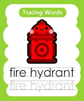 Schreiben von übungswörtern alphabet-verfolgung f - hydrant