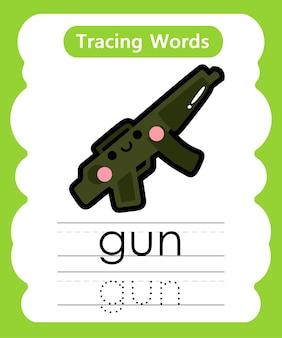Schreiben von übungswörtern alphabet-verfolgung g - gun