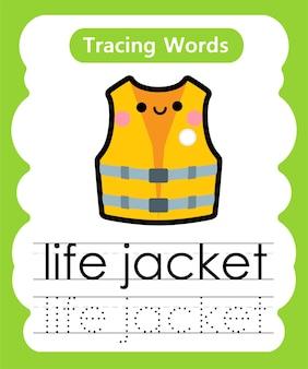 Schreiben von übungswörtern alphabet-verfolgung l - schwimmweste