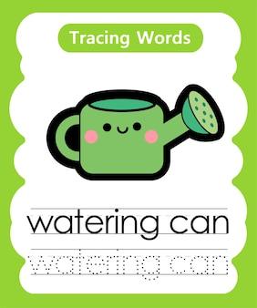 Schreiben von übungswörtern alphabet-verfolgung mit gießkanne