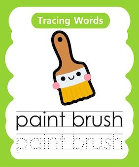 Schreiben von übungswörtern alphabet-verfolgung p - pinsel