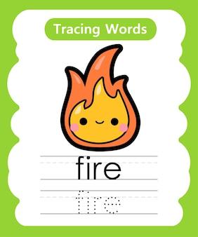 Schreiben von übungswörtern alphabet-verfolgung von feuer