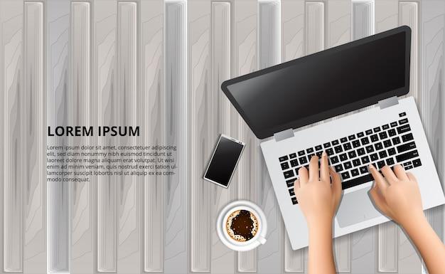Schreibenlaptop auf der hölzernen tabelle mit illustration des intelligenten telefons und des kaffees