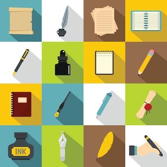 Schreibensikonen eingestellt, flache art