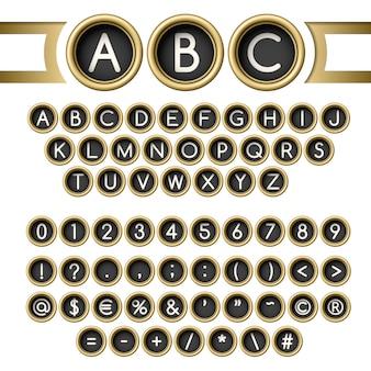 Schreibmaschine knöpft alphabet