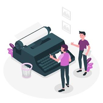 Schreibmaschinenkonzeptillustration