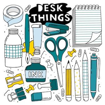 Schreibtisch dinge eingestellt