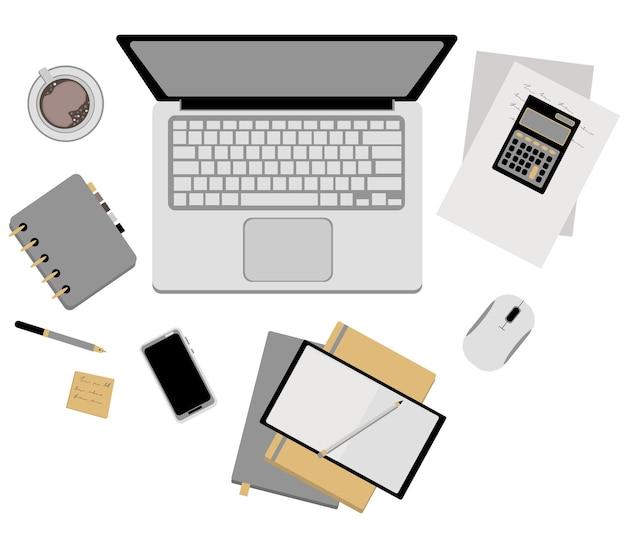 Schreibtisch. ein offener laptop, eine tasse kaffee, ein telefon, ein taschenrechner, papiere, ein stift, ein notizblock.