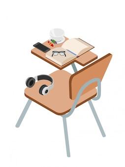 Schreibtisch mit objekten auf weiß