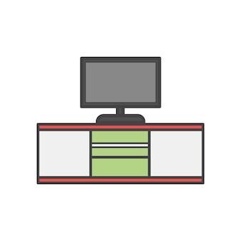 Schreibtisch mit tv an der spitze