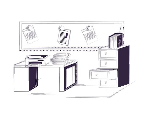 Schreibtisch und bürobedarf