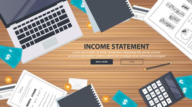 Schreibtischausstattung für die gewinn- und verlustrechnung